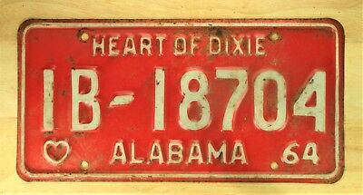 1964 Vintage Alabama Heart Of Dixie License Plate Auto Car Vehicle Tag Item 1085