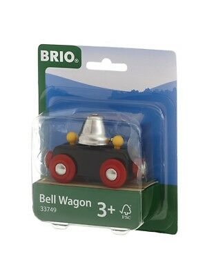 BRIO 33749 Bell Wagon Wooden Railway Train Hear the Bell Ring as it Moves Along