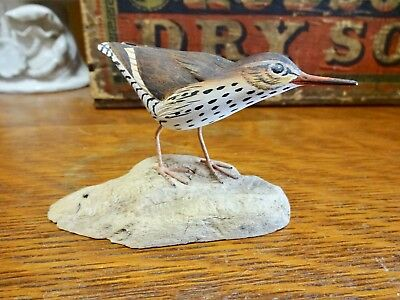 Rare Signed WILLIAM REINBOLD Hand Carved & Painted Bird Art Carving on Wood