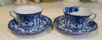 Flow blue china CONWAY New Wharf Pottery set of 2 CUPS AND SAUCERS England