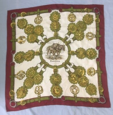 HERMES Scarf Cuivreries Red, Green & White Silk Square Hand Rolled Hem MD 318