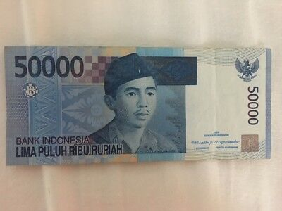 Indonesia 50000 50,000 Rupiah 2014 Boat Temple  Currency Money Bill Bank Note
