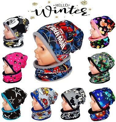 Boys Girl Kids Warm Winter Hat And Tube Scarf  Set Fleece Lining 1-2-4-10 Years
