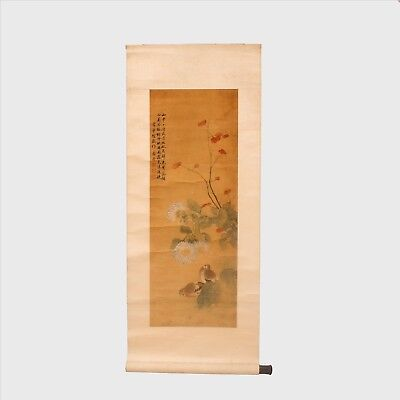 Old Signed Chinese Hanging Scroll Beautiful Late 19th Century