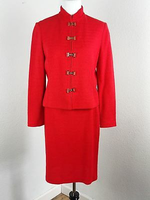 St. John Collection by Marie Gray 2 pc Skirt Suit Red Santana Knit Size 10 8