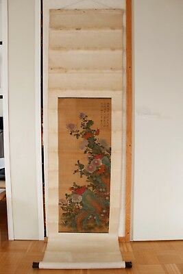 Chinese Hanging Scroll Beautiful Painting 19th TOP!
