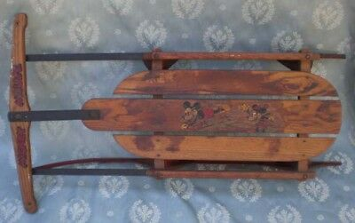 Mickey Mouse & Minnie Mouse Child'S Sled Circa 1936