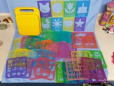 Tupperware Tuppertoys Stencil Art Set With Case, Lot Of 39, 1987-90