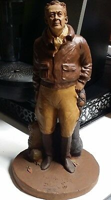 "The Aviator Statue Sculpture by Tom Clark 1984 Hand Signed 12"" Tall"