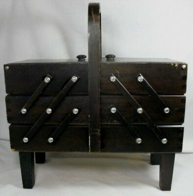 Vintage Singer Accordian Fold Out 3 Tier Wooden Sewing Box Made in Philippines