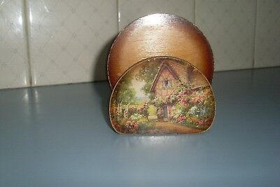 Set Of 6 Vintage Wooden Drink Coasters -Country Cottage -Country Kitchen