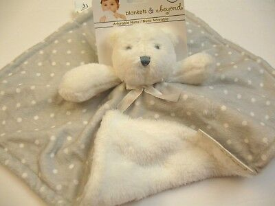 Blankets and Beyond Security Blanket Bear White Gray Polka Dots  Baby Lovey