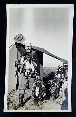 Hunter With A Lot Of Ducks 1918 Idaho License Plate Rppc Real Photo Postcard