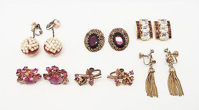 Antique Vintage 6 Pairs Purple Pink Clear Crystal Coro Clip Screw Gold Earrings