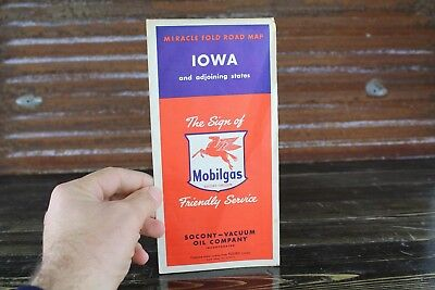 Vintage Original Miracle Fold Road Map Mobil Mobilgas Socony Gas Oil Iowa