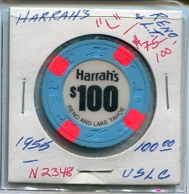 +++++++++++ $$$  OLD  $100  HARRAHS  RENO TAHOE NEVADA   Low Book = $75