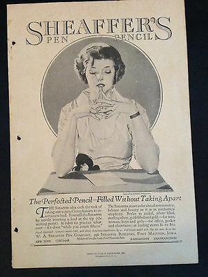 1921 Vintage Art Deco Magazine Ad ~ Sheaffer's Pencil ~ a/s Coles Phillips
