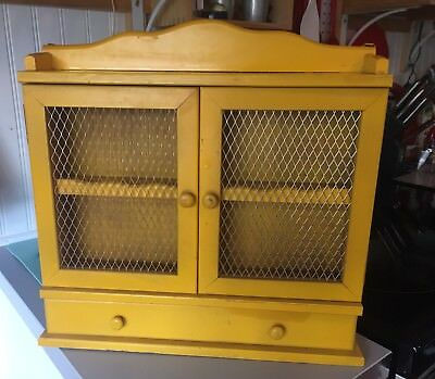 """Vintage Rare 15"""" Wood Spice Cabinet Mesh Doors Drawer Yellow Farmhouse"""