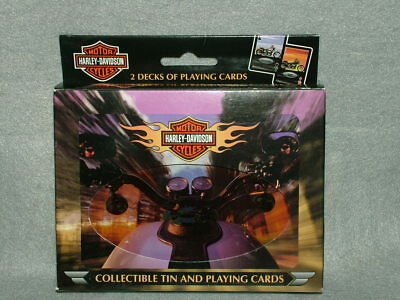 Collectible HARLEY-DAVIDSON Playing Cards NIB ~ 2 Sealed Decks + Collector Tin!