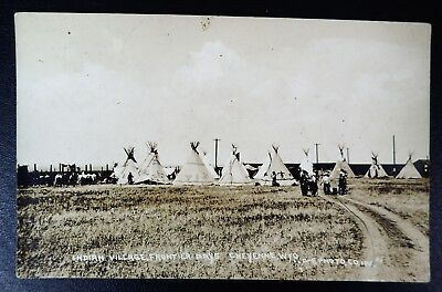 Indian Village Frontier Days Cheyenne Wyoming Rppc Real Photo Postcard