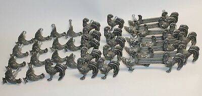 Lot of 33 Rooster& Chicken Cabinet Drawer Door Knobs Pulls Country Pewter Like