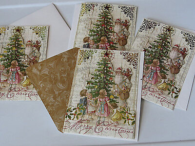 4 punch studio christmas cards old world tree santa child dimensional gold foil
