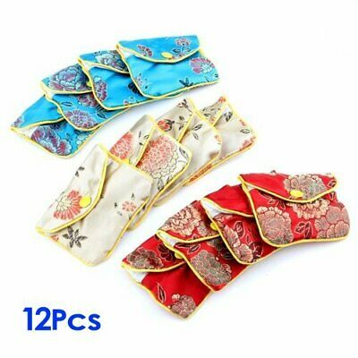 12x Chinese Classic Silk Pattern 8x6.5cm Gift Bags Jewelry Pouch/Coin Purse