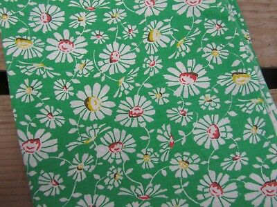 Vintage Feedsack Fabric - Daisy's on Green  Pattern Quilting Sewing Crafts