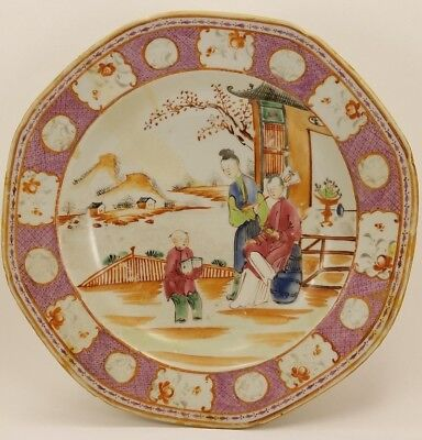 """18th C Antique Qianlong Chinese Famille Rose Porcelain Bowl Plate 9"""" AS IS"""