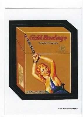 2018 Lost Wacky Packages Series 4 LW4 Sticker GOLD BONDAGE w/white back NR