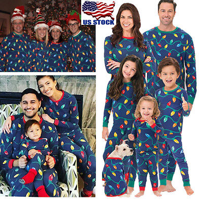 Family Matching Xmas Pajamas Set Women Kid Dad Adult PJs Fun Sleepwear Nightwear