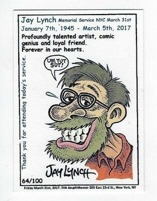 2017 Wacky Packages Artist Jay Lynch 3-31-2017 Memorial Service Card #64/100 NR
