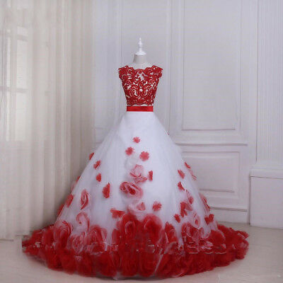 Two Piece 3D Floral Prom Dress Vintage Wedding Halloween Party Evening Ball Gown