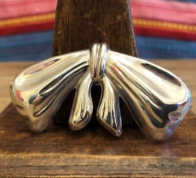Huge Vintage Taxco Sterling Silver Ribbon Bow Hair Clip Barrette