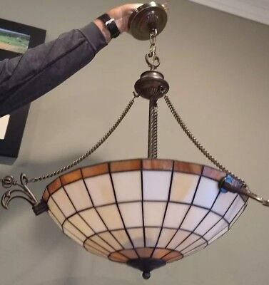 STAINED GLASS HANGING CEILING LAMP VINTAGE RETRO TIFFANY STYLE Brass Parts