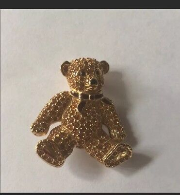 SIGNED SWAROVSKI CRYSTAL Teddy Bear PIN ~BROOCH RETIRED RARE Perfect Condition