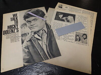 1967 Micky Dolenz Magazine Article Clipping We Talk To Secret Wife