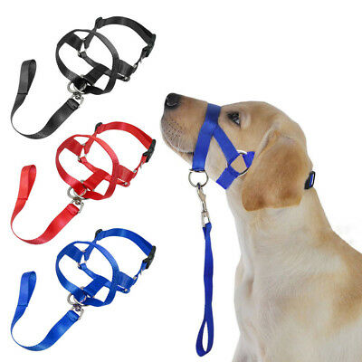 Dog Pet Soft Nylon Head Collar Training Mouth Cage Anti Bite Chew Safety Mask SM