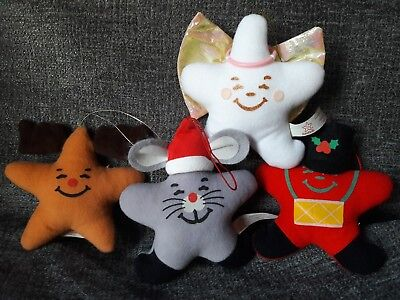 "Carl's Jr Plush Christmas Ornament ""Starnaments"" Smiling Stars - lot of 4 1990's"