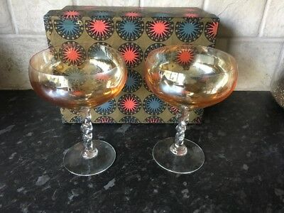 Pair of vintage champagne saucers, cocktail glasses in original box