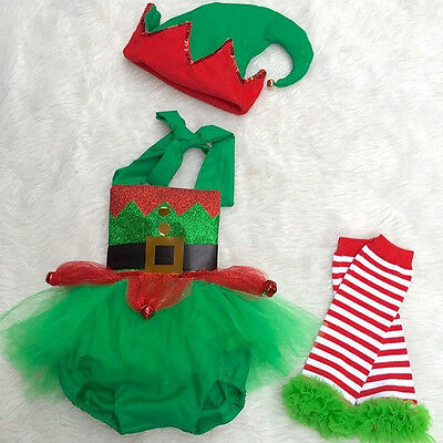 Christmas Baby Girl Elf Romper Tulle Dress Jumpsuit Leg Warmers Hat 3pcs Outfits