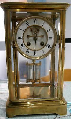 Visible French Four Glass Clock Serviced and Overhauled by Marti