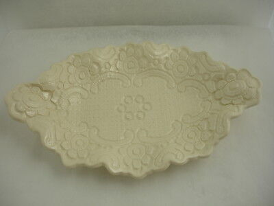 Handmade Handcrafted Artisan Ceramic Clay Glazed Art Pottery Plate Antique Lace