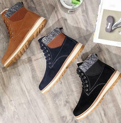 Mens Thicken Fleece Lining Ankle Snow Boots Lace Up Slip On Warm Winter Shoe F99