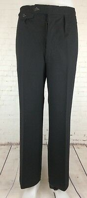 Mens Black Pleated 40s/50s Button Fly Wool Trousers Side Cinches W35 L29 hb01
