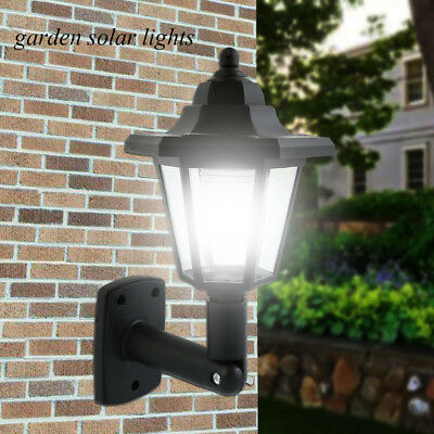 LED Garden Night Motion Sensor Solar Powered Outdoor Patio Shed Wall Lights Lamp