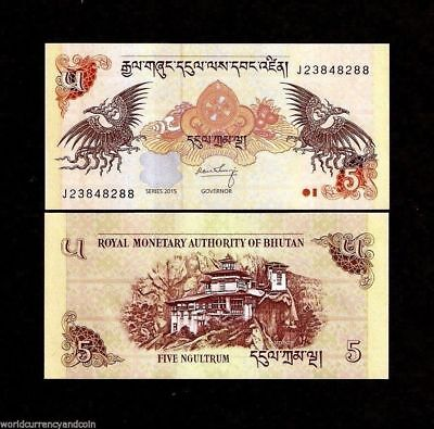 Bhutan 5 Ngultrum P28 2015 Dzong Dragon Unc Bill Money Asian Bank Note