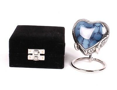 Small Cremation Urn For Ashes Funeral Memorial Blue Keepsake urn Heart Stand Box