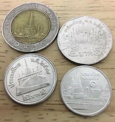 Thailand Set of 4 Coins : 1,2,5,10 Bahts