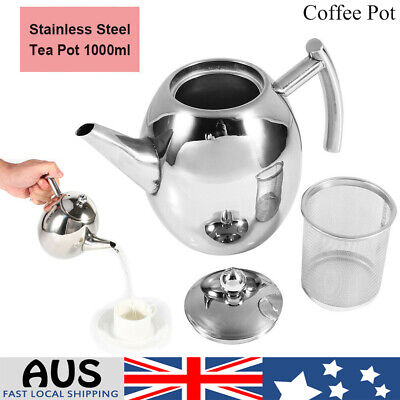 1L Stainless Steel Teapot Tea Pot Coffee Kettle With Tea Filter Strainer Infuser